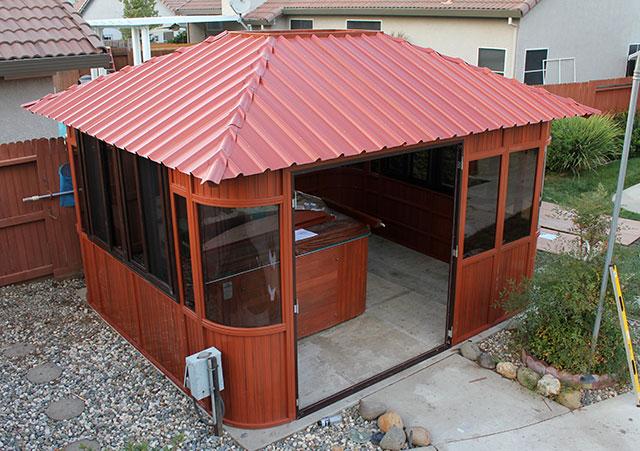 aspen gazebo roof installation before skylight