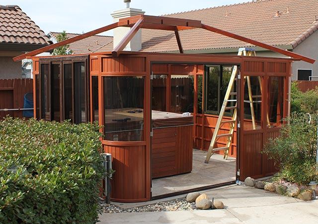 hot tub enclosure roof assembly