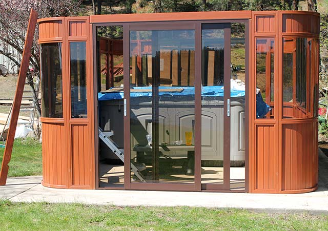 Aspen gazebo wall and door assembly