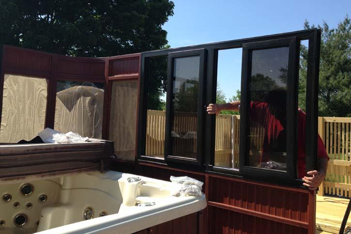 hot tub enclosure window assembly