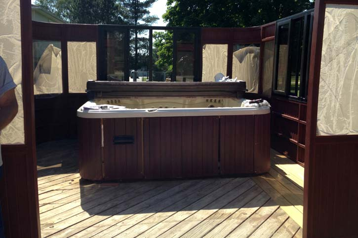 hot tub enclosure wall assembly