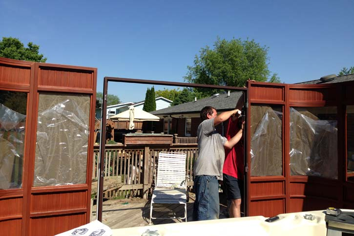 hot tub enclosure door installation