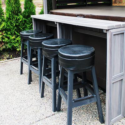 hot tub enclosure bar and stools