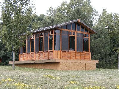 a chalet gazebo on elevated wood deck