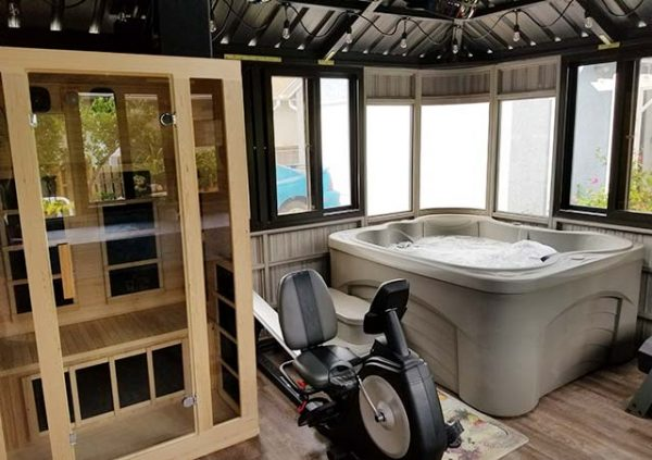 Colorado gazebo with exercise machine and hot tub