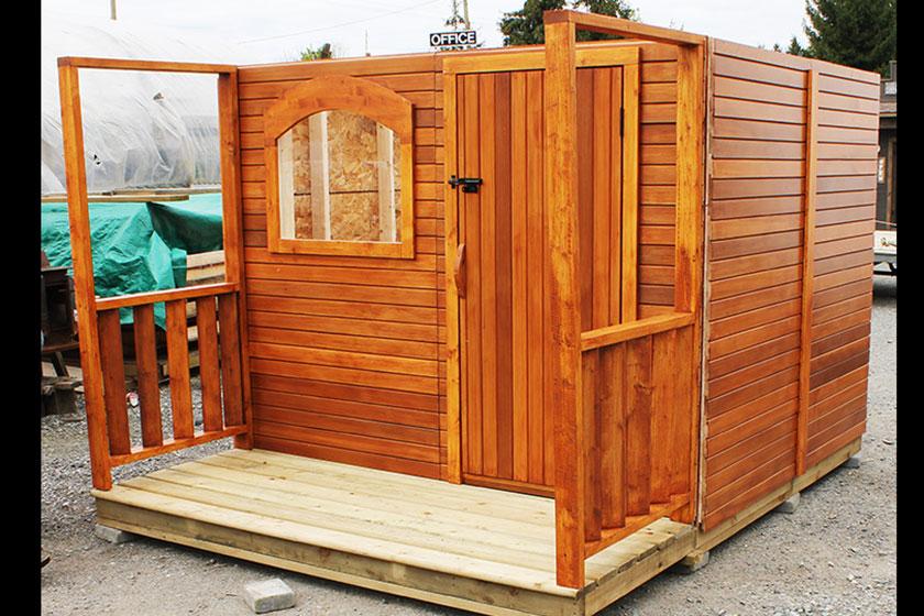 Side Porch Rails Installed - Spa Gazebo|Hot Tub Enclosure - Westview Manufacturing