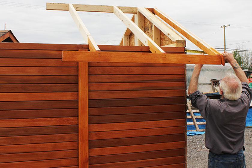 Aligning Smaller Roof Frame - Spa Gazebo|Hot Tub Enclosure - Westview Manufacturing