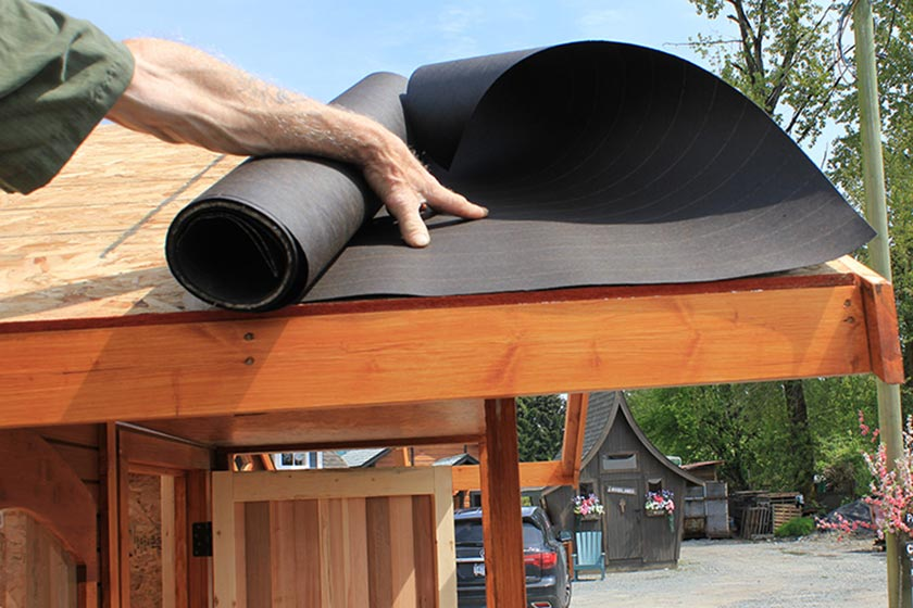 Unrolling The Tar Paper - Spa Gazebo|Hot Tub Enclosure - Westview Manufacturing
