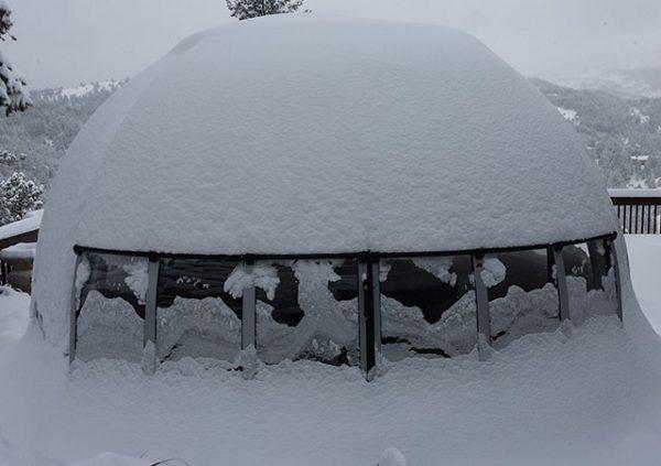 Grand Orlando conservatorium covered with snow