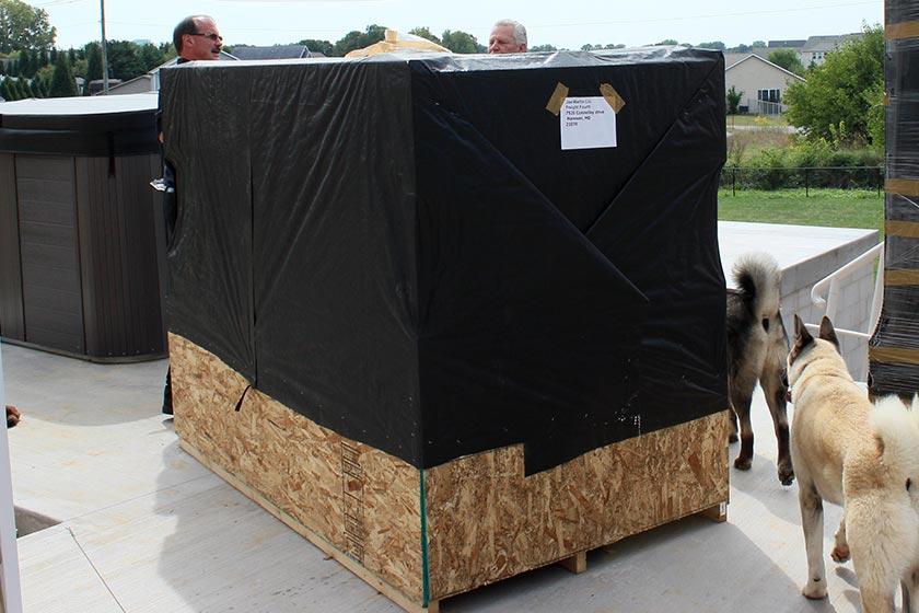 Gazebo Arives In Crates - Spa Gazebo|Hot Tub Enclosure - Westview Manufacturing