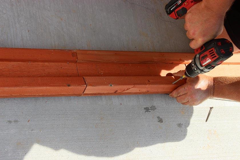 Fastening The Beam With Screws - Spa Gazebo Hot Tub Enclosure - Westview Manufacturing