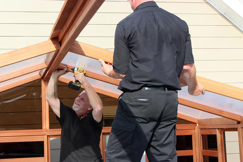 Attaching The Roof To The Beam - Spa Gazebo Hot Tub Enclosure - Westview Manufacturing