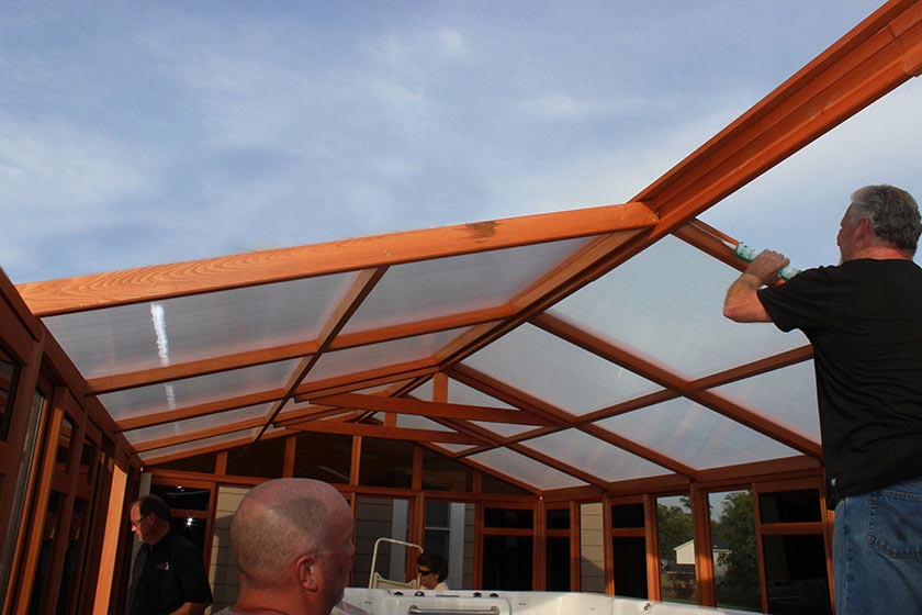 Working On Roof Panel Sochalet 13x21 - Spa Gazebo|Hot Tub Enclosure - Westview Manufacturing