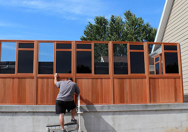 Window Walls Being Attached - Spa Gazebo|Hot Tub Enclosure - Westview Manufacturing