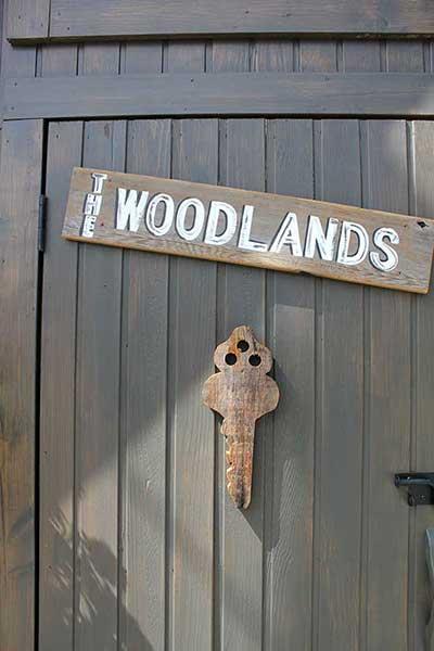 a Woodlands cabin front door