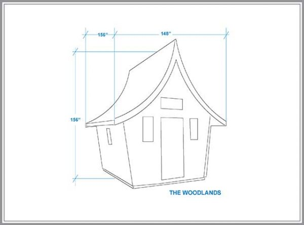 a Woodlands cabin dimensions