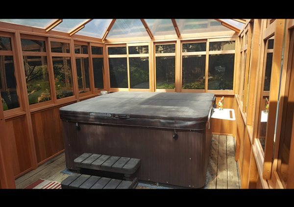 view from inside a hot tub enclosure