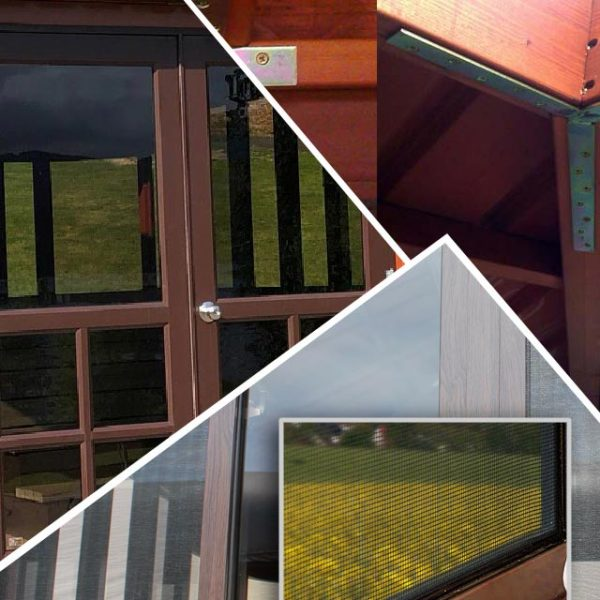 roof brackets, french doors and window screen photo collage