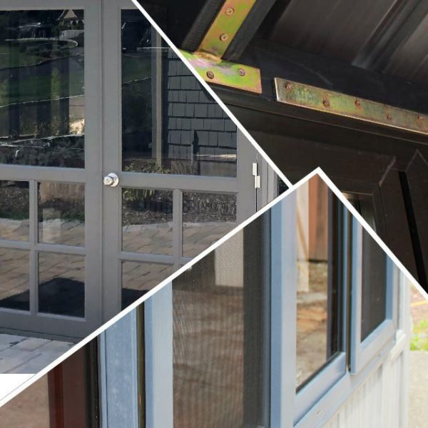 Photo collage of french door, window screen and metal brackets